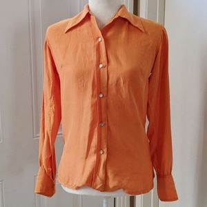 Christian Dior 100% Silk Orange Button Up